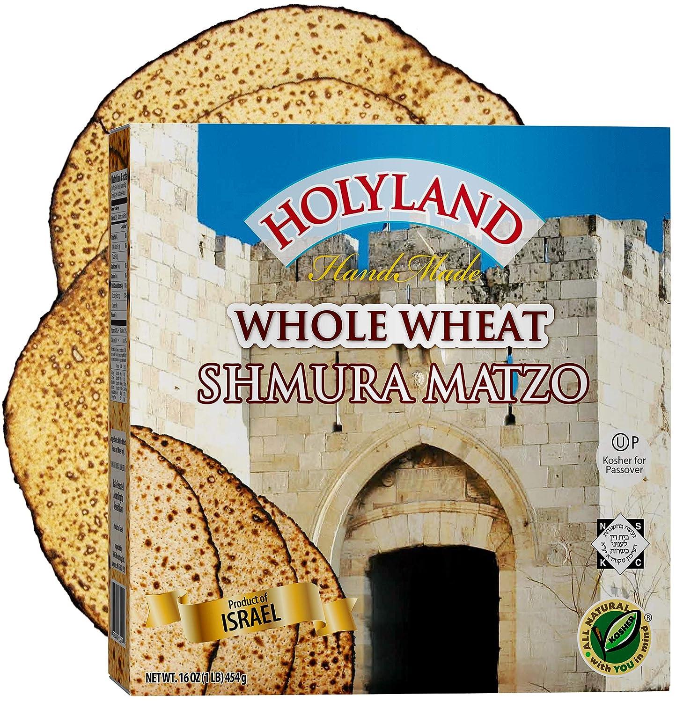 Holyland Hand Made Whole Wheat Shmura Matzo 1lb | Fat Free, Cholesterol Free, Sodium Free, Sugar Free | Kosher for Passover