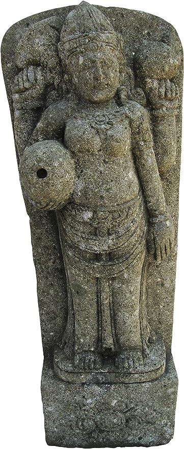 STONE art & more Dewi Relief - Piedra volcánica Verde (100 cm, basanita, Trabajo de Piedra, Resistente a Las heladas): Amazon.es: Jardín