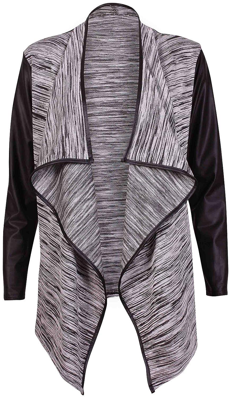 Purple Hanger - Damen Frauen Strickjacke Mantel Langärmelig Dehnbar Nasslook Wickel Wasserfall Ausschnitt PVC PU Rand
