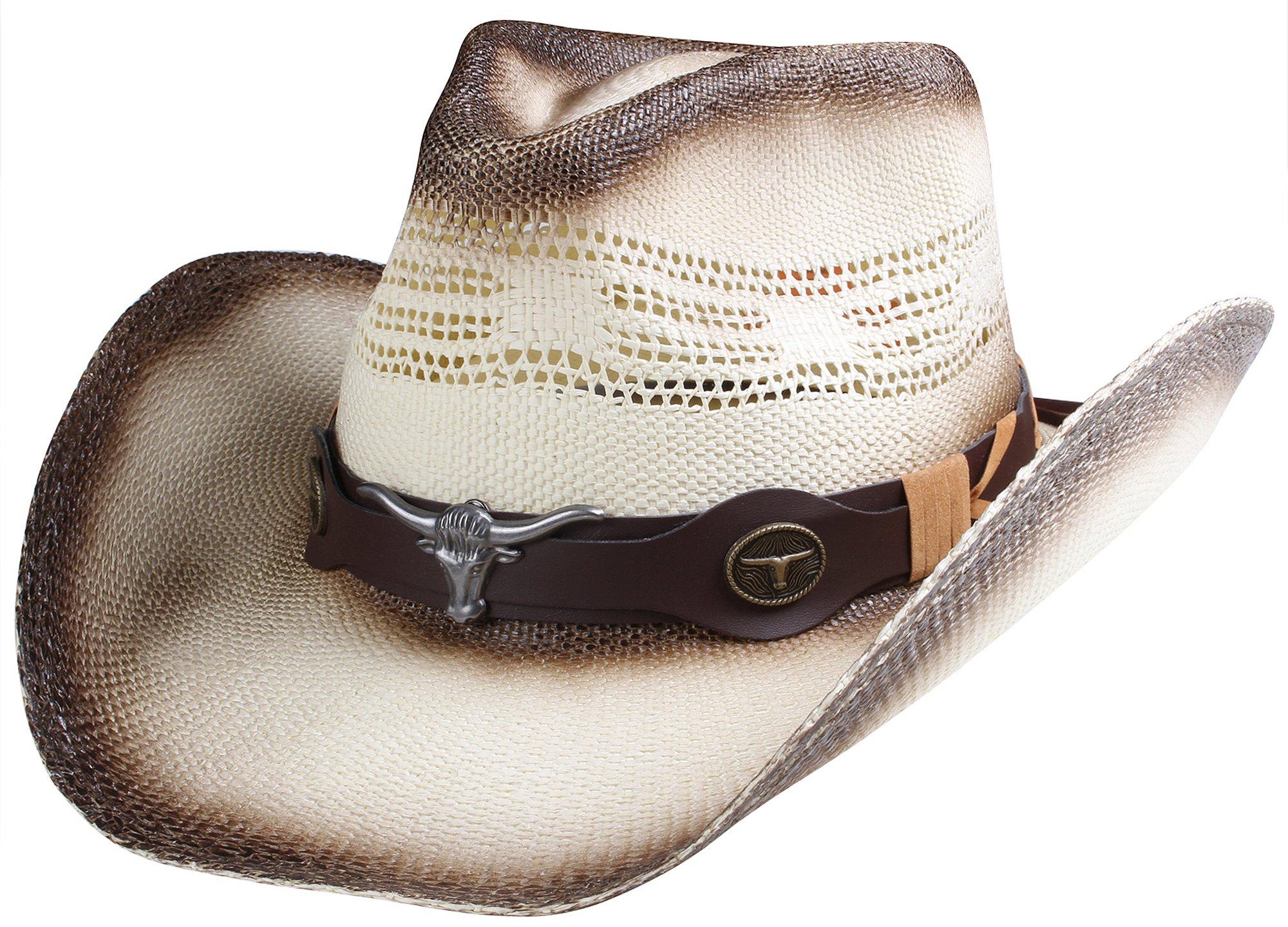 Classic Straw Cowboy Cowgirl Hat Western Outback w/Wide Brim - D by Queue Essentials