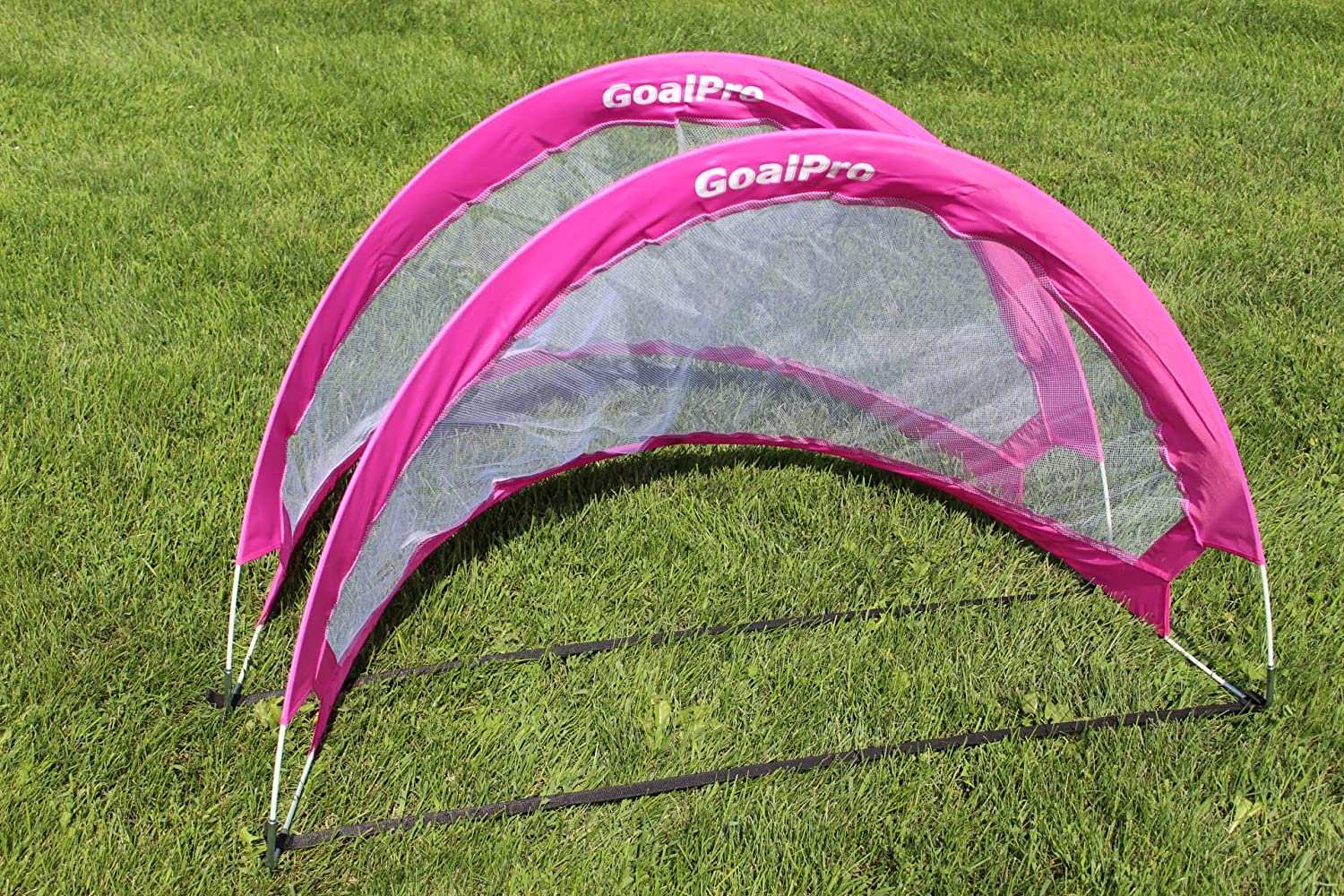goalpro Goal Pro Pop Up Soccer Goal – 2つポータブルSoccer Nets with Carryバッグ – サイズ4 ' FT B07BT635YVピンク