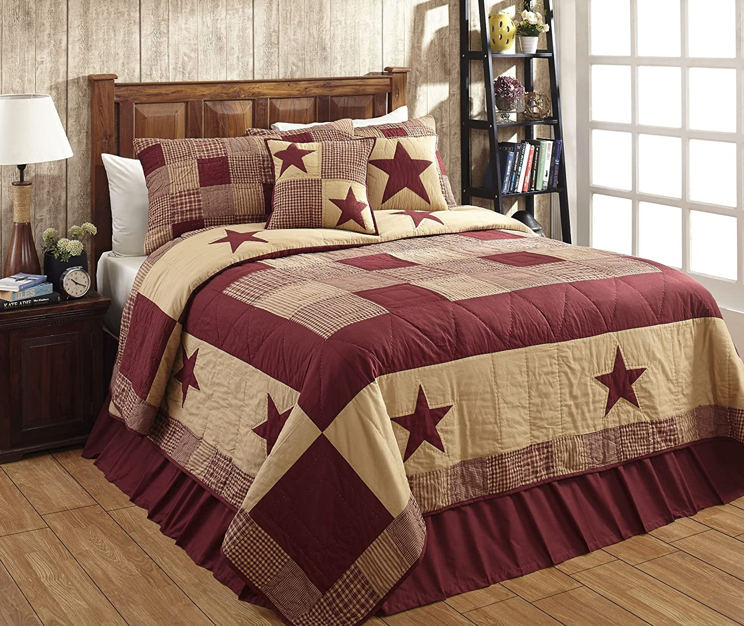 Beau Amazon.com: Jamestown Burgundy And Tan Primitive Country Quilt Set   3  Piece (Queen/Full (3 Pc)): Home U0026 Kitchen