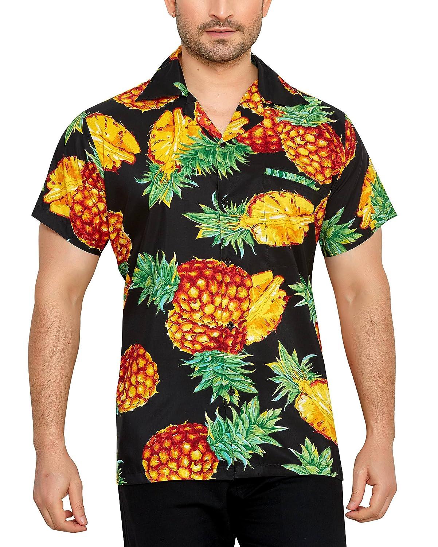 TALLA L. CLUB CUBANA Camisa Hawaiana Florar Casual Manga Corta Ajuste Regular para Hombre