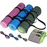 """Eco Friendly Non Slip TPE Yoga Mat, Hand Towel & Two Carry Straps by YogiMall – Reversible, Thick 6mm, 72""""X24"""" SGS Certified High Density Mat - 4-in-1 Yoga Essential Kit for Yoga, Pilates & Exercise"""