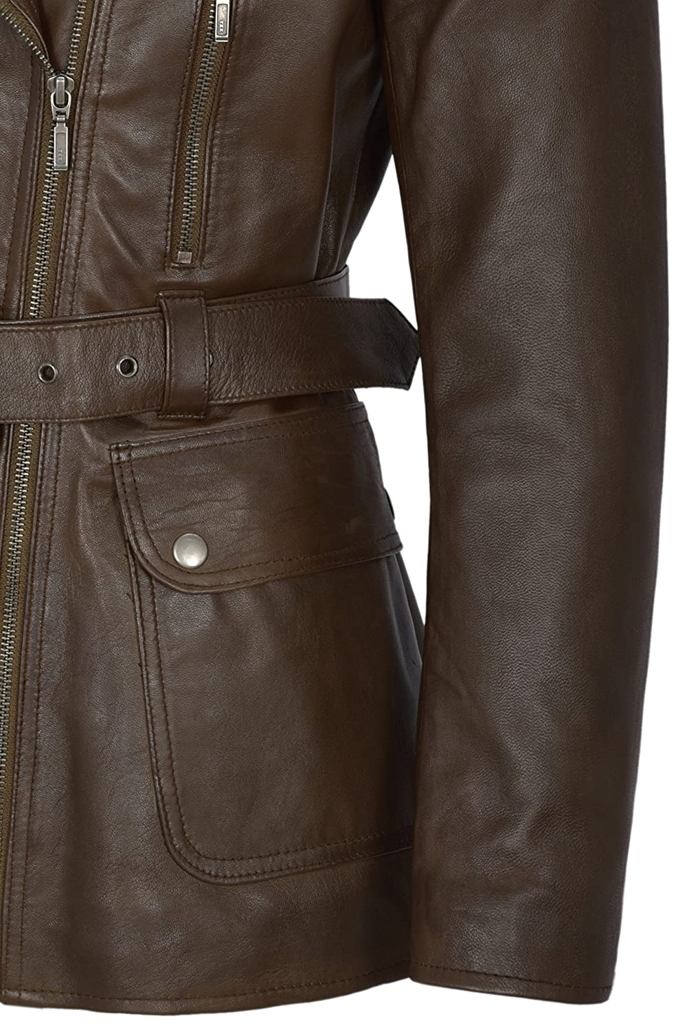 Smart Range Womens Real Lambskin Brown Leather Jacket Trench Fashion Designer Mid-Length Winter Coat at Amazon Womens Coats Shop