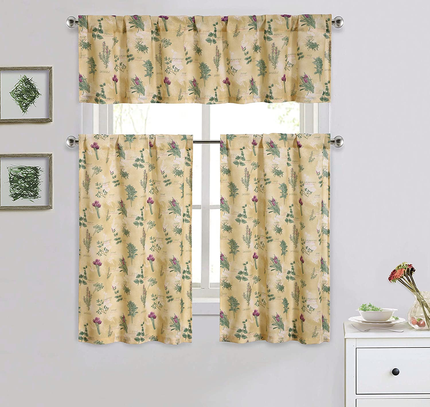 Cotton Blend 3 Piece Kitchen/Cafe Tier Window Curtain Set: Botanical Herb Design Bathroom and More KWC-ROSEMARY-MULTI