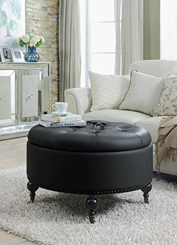 Iconic Home Black Mona PU Button Tufted with Gold Nail head Trim Castered Legs Round Ottoman