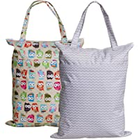 Large Zippered Hanging Wet Dry Bag with Snap Tote Handle for Reusable Cloth Diapers, Swimsuits, Laundry, Gym (Grey Chevron + Owl)