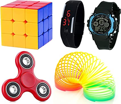 LEMONADE Digitally Yours Combo of 5 Fidget Spinner, 3x3x3 Puzzle Cube, Plastic Playing Spring, 7 Light Wrist Band and Black Digital Led Band Watch