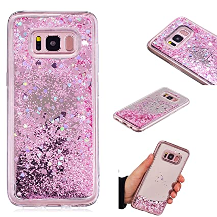 finest selection 656ae efce8 Amazon.com: for Samsung Galaxy S8 Shiny Liquid Glitter Case with a ...