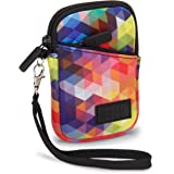 USA Gear Compact Camera Case Bag for Canon PowerShot SX720 HS, SX620 HS, ELPH 190 IS/170 IS, Nikon Coolpix S33, AW130 & More - Battery & Memory Storage, Scratch & Weather Resistant - Geometric