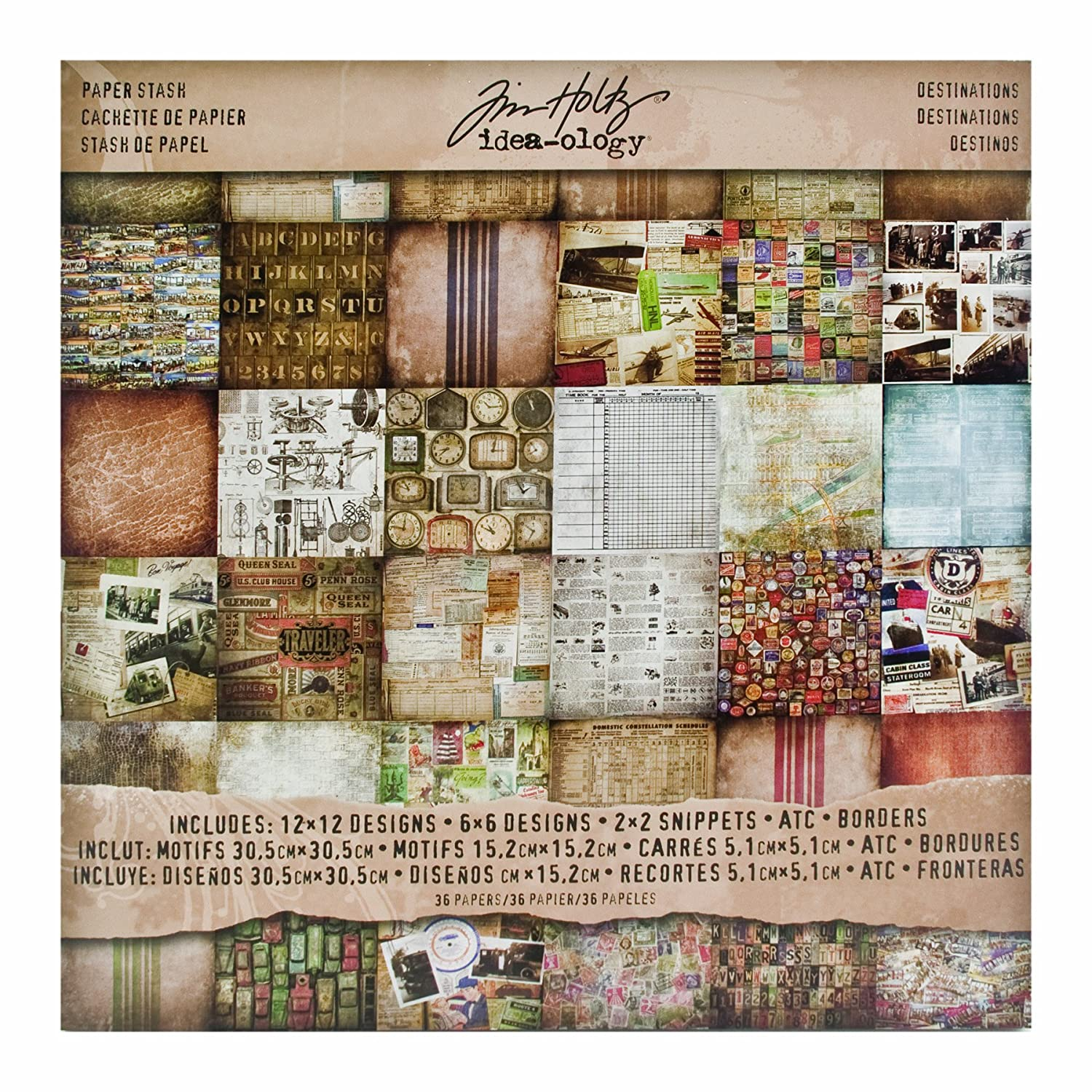 Multi colored cardstock paper - Amazon Com Destinations Paper Stash By Tim Holtz Idea Ology 36 Sheets Double Sided Card Stock Various Sizes Multicolored Th93004 Arts