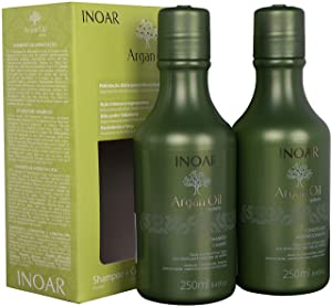 INOAR PROFESSIONAL - Argan Oil Shampoo and Conditioner - The Perfect Combination to Nourish and Repair Damaged, Dry, and Stressed Hair Types (8.5 Ounces / 250 Milliliters)