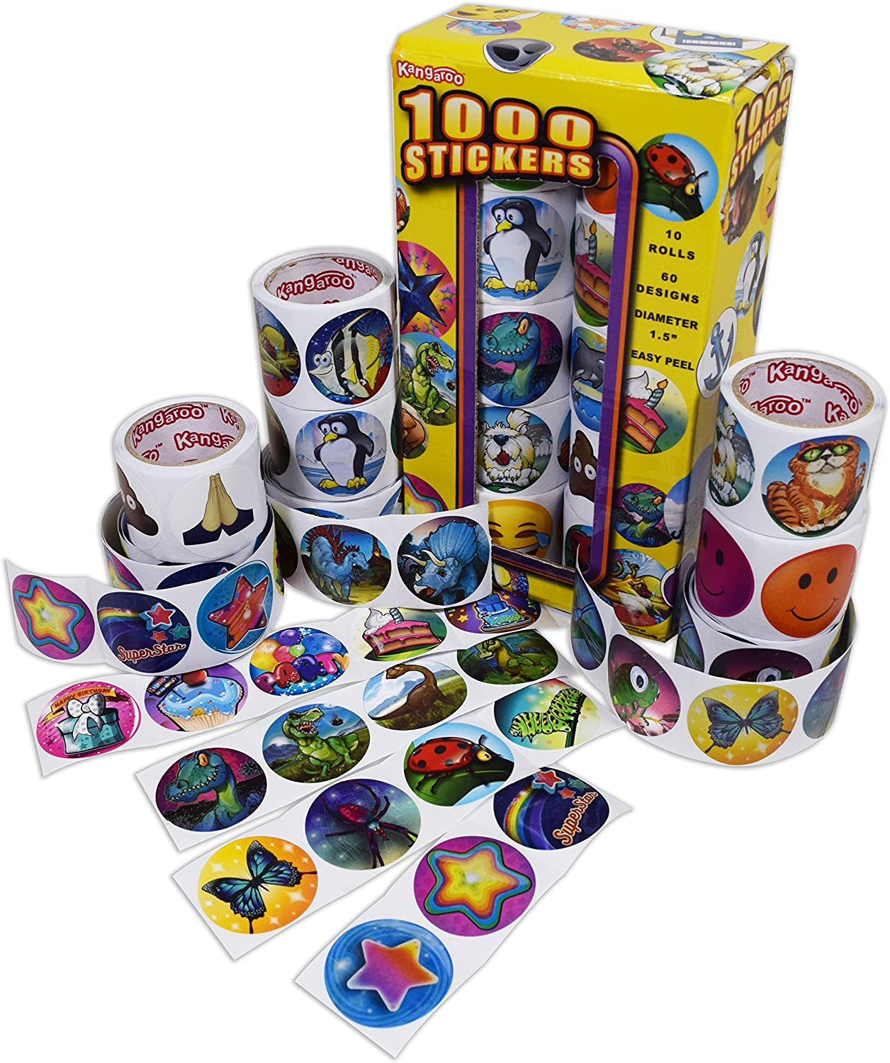 Kangaroo Mega Jumbo Sticker Assortment, 1000 Stickers