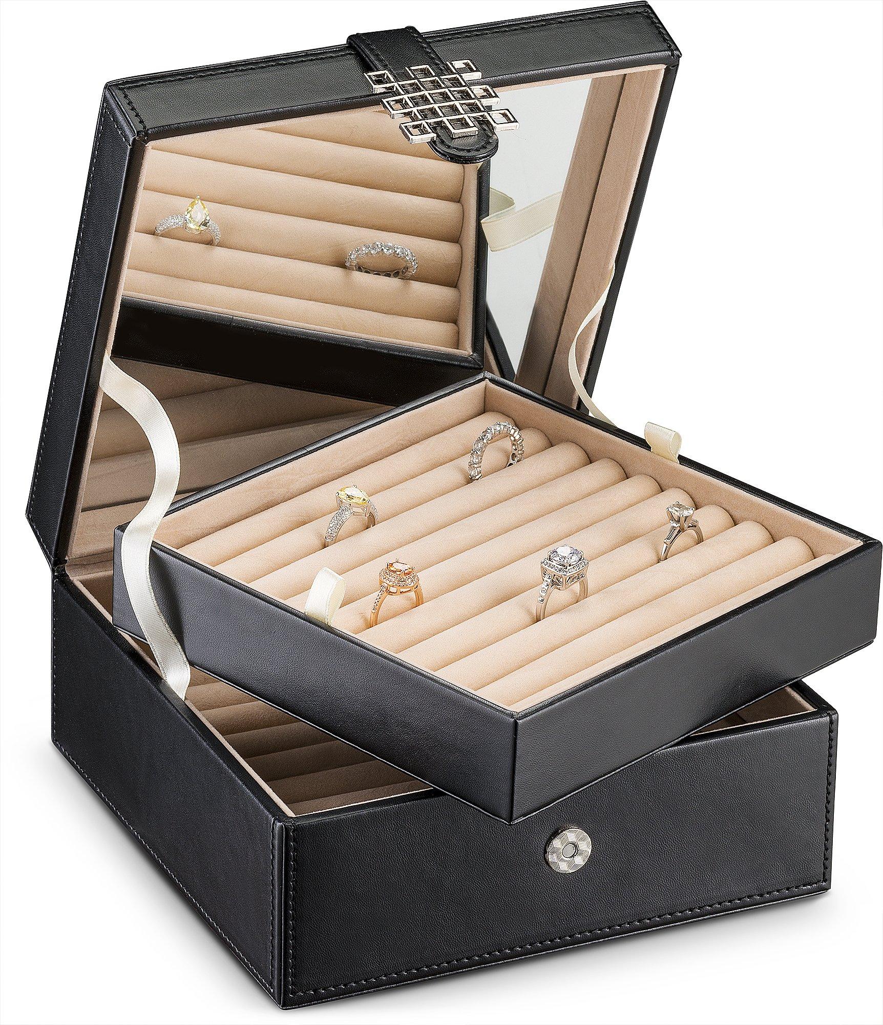 Glenor Co Ring Organizer Box - 108 Slot Classic Jewelry Display Holder - 2 Storage Trays Modern Buckle Closure, Large Mirror - Holds Rings Cufflinks - PU Leather Case - Black