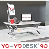 Yo-Yo Desk® 90 (WHITE) - Best Selling Height Adjustable Standing Desk [90cm Wide]. Superior sit-stand solution suitable for all workstations and standing desk workplaces.
