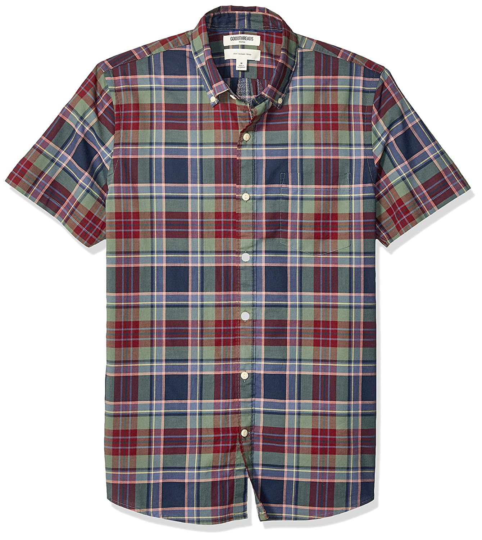 Marca Goodthreads Slim-fit Short-Sleeve Madras Shirt Hombre