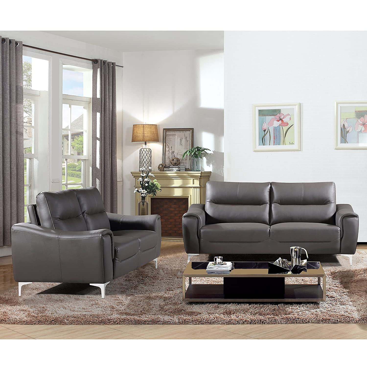 AC Pacific Anna Collection Contemporary Leather Upholstered Electric Recliner Chair With Adjustable Headrest