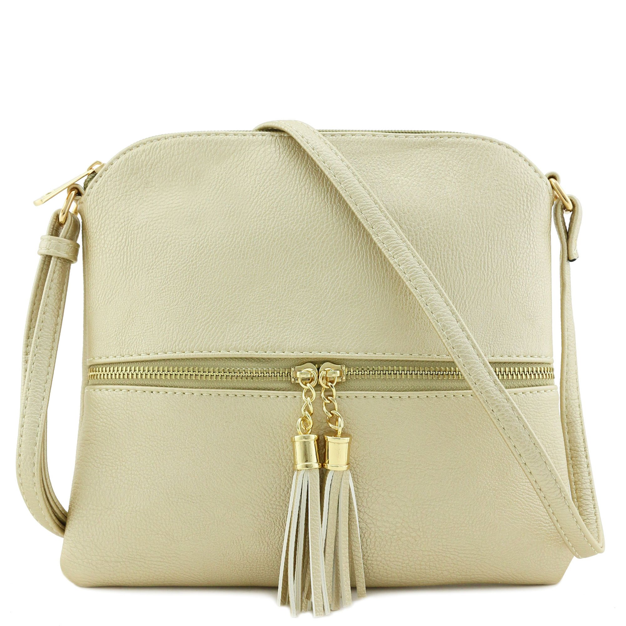 Lightweight Medium Crossbody Bag with Tassel (Gold)
