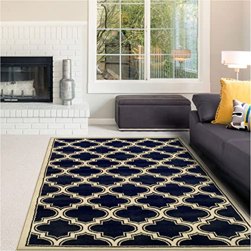 Superior Bohemian Trellis Collection Area Rug, 10mm Pile Height with Jute Backing, Chic Geometric Trellis Pattern, Fashionable and Affordable Woven Rugs – Blue, 8 x 10 Rug