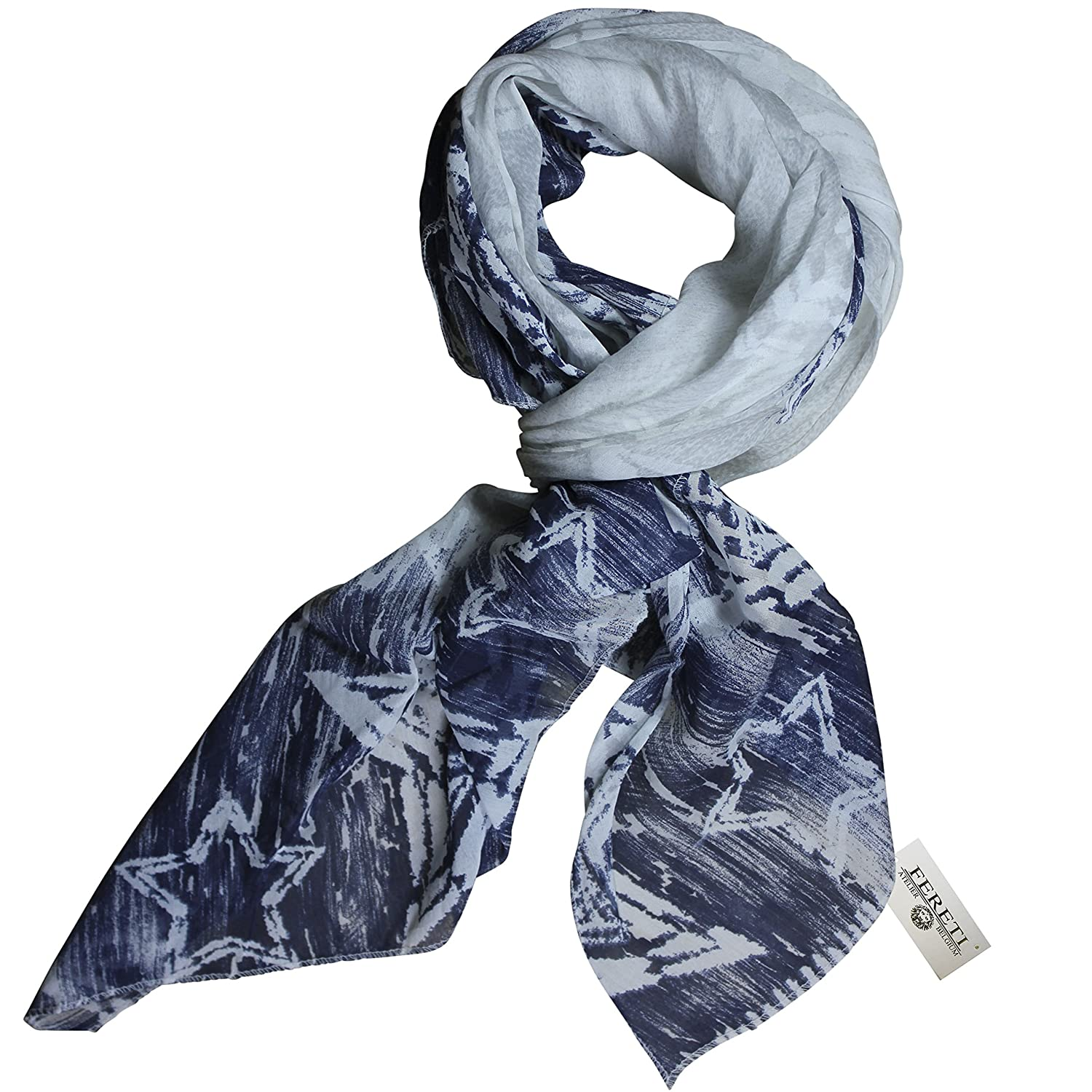 FERETI Large soft silk scarf pale Grey and Bleu for women with stars made in Italy