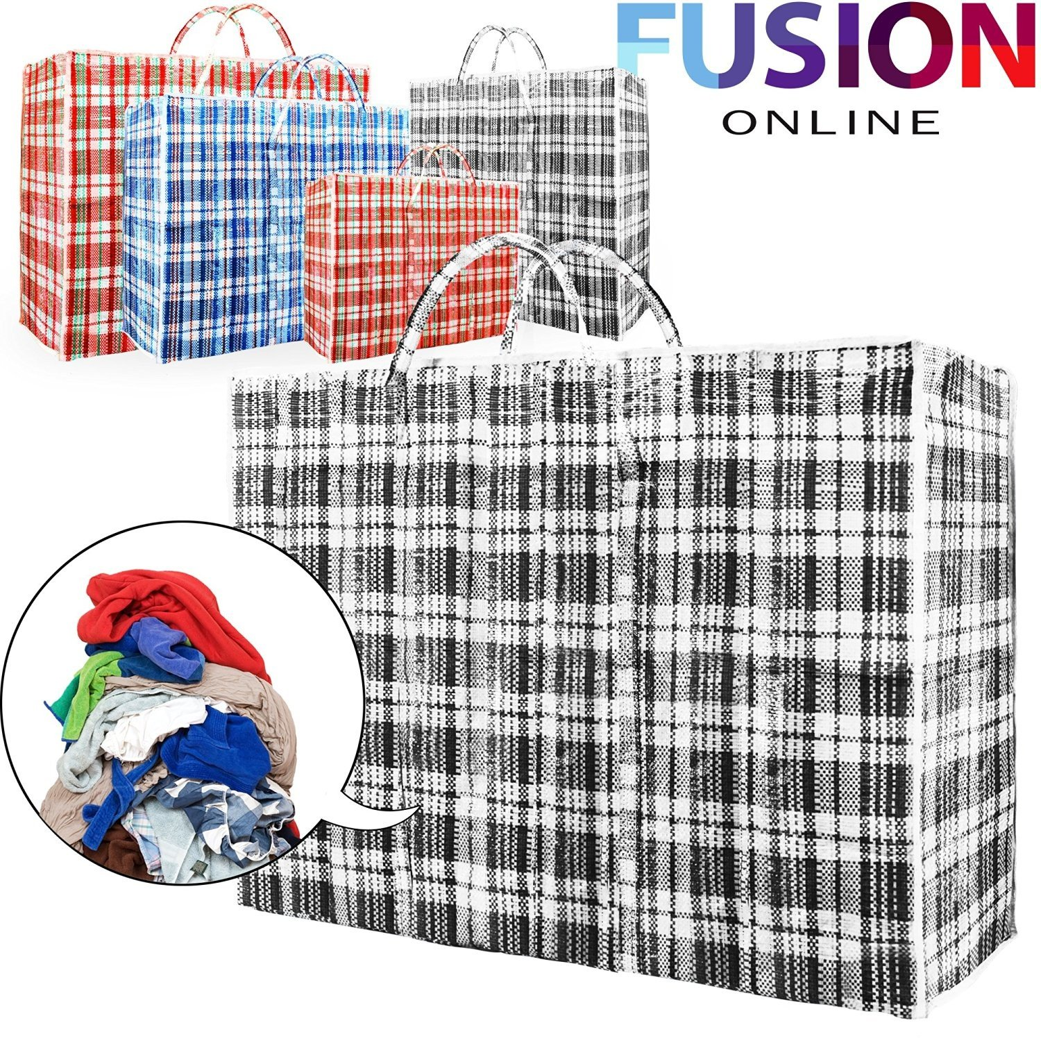 10 x REUSABLE LAUNDRY STORAGE BAG SHOPPING BAGS ZIPPED STRONG JUMBO LARGE LAUNDRY BAG FUSION (TM) (Small)