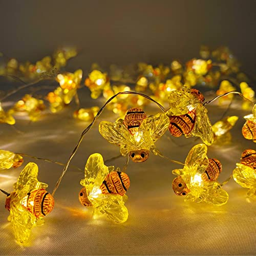 Honeybee Decorative String Lights, 40 LED USB Plug-in Copper Wire Bee Fairy Lights,LED String Lights with 8 Modes Remote Control for Various Decoration Projects