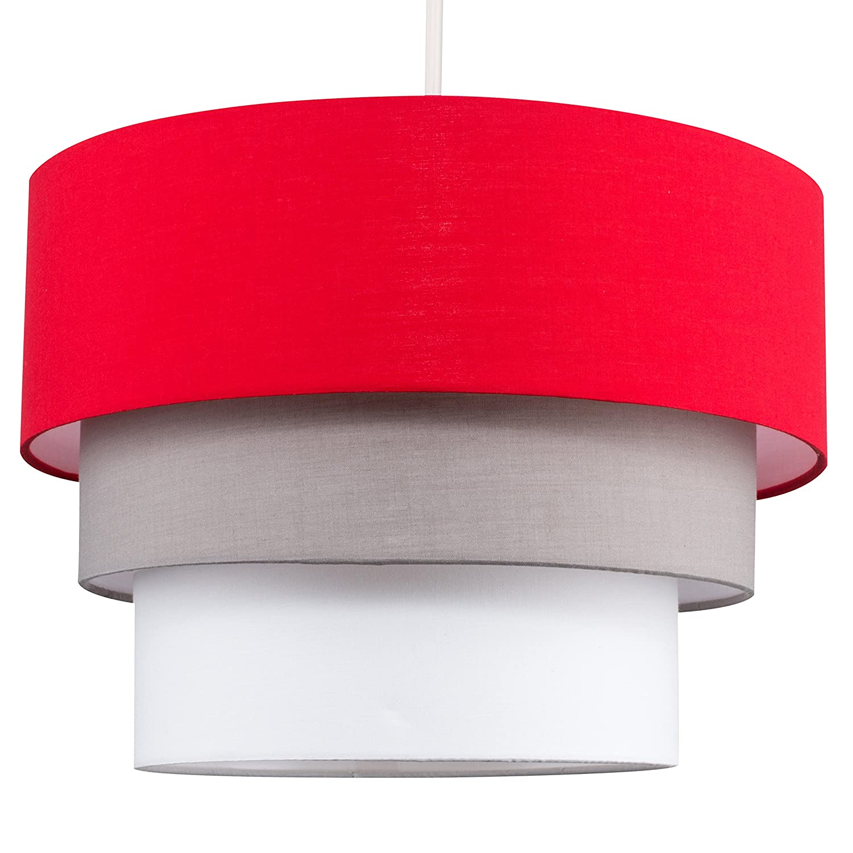 Beautiful Round Modern 3 Tier Black, Grey And Taupe Fabric Ceiling Designer Pendant Lamp Light Shade MiniSun