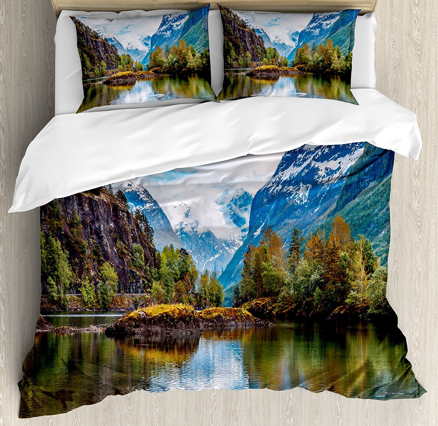 Ambesonne Nature Duvet Cover Set, Norway Mountain Range with Snowy Peaks by The Lake Fishing Nordic Northern Landscape, Decorative 3 Piece Bedding Set with 2 Pillow Shams, King Size, Blue Brown