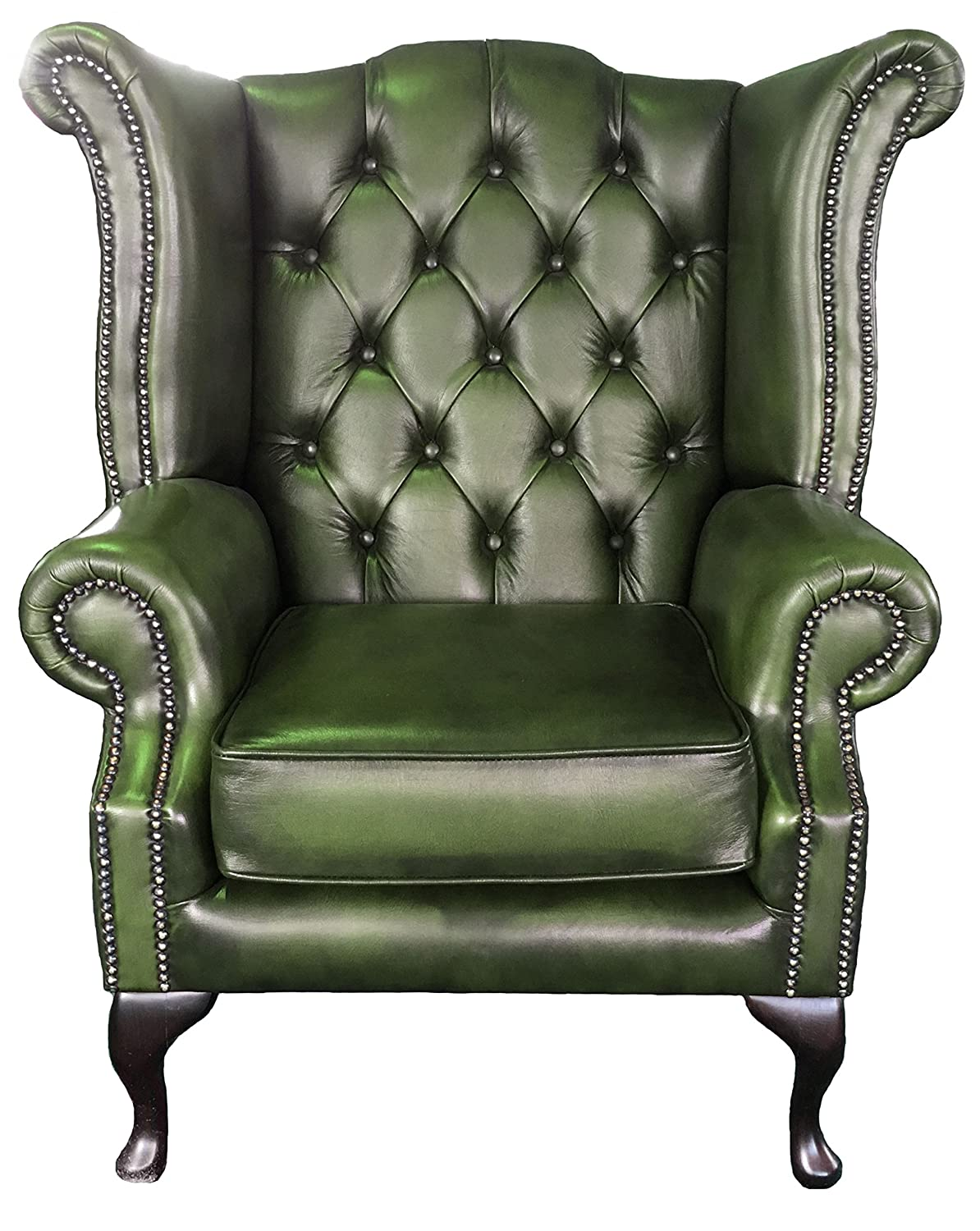 Perfect Chesterfield Antique Green Genuine Leather Queen Anne Armchair:  Amazon.co.uk: Kitchen U0026 Home