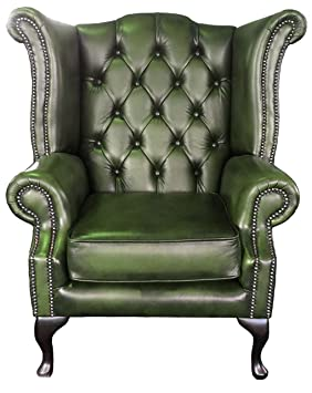 Exceptionnel Chesterfield Antique Green Genuine Leather Queen Anne Armchair