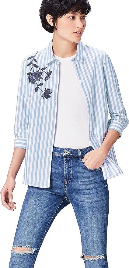 TALLA 36. Marca Amazon - find. Camisa de Rayas con Bordado para Mujer