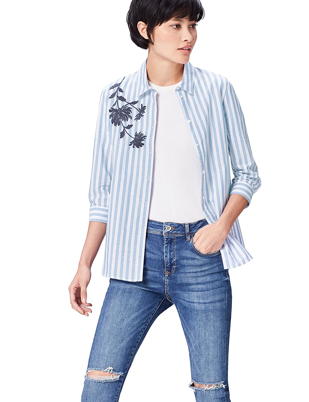 FIND Camisa de Rayas con Bordado para Mujer