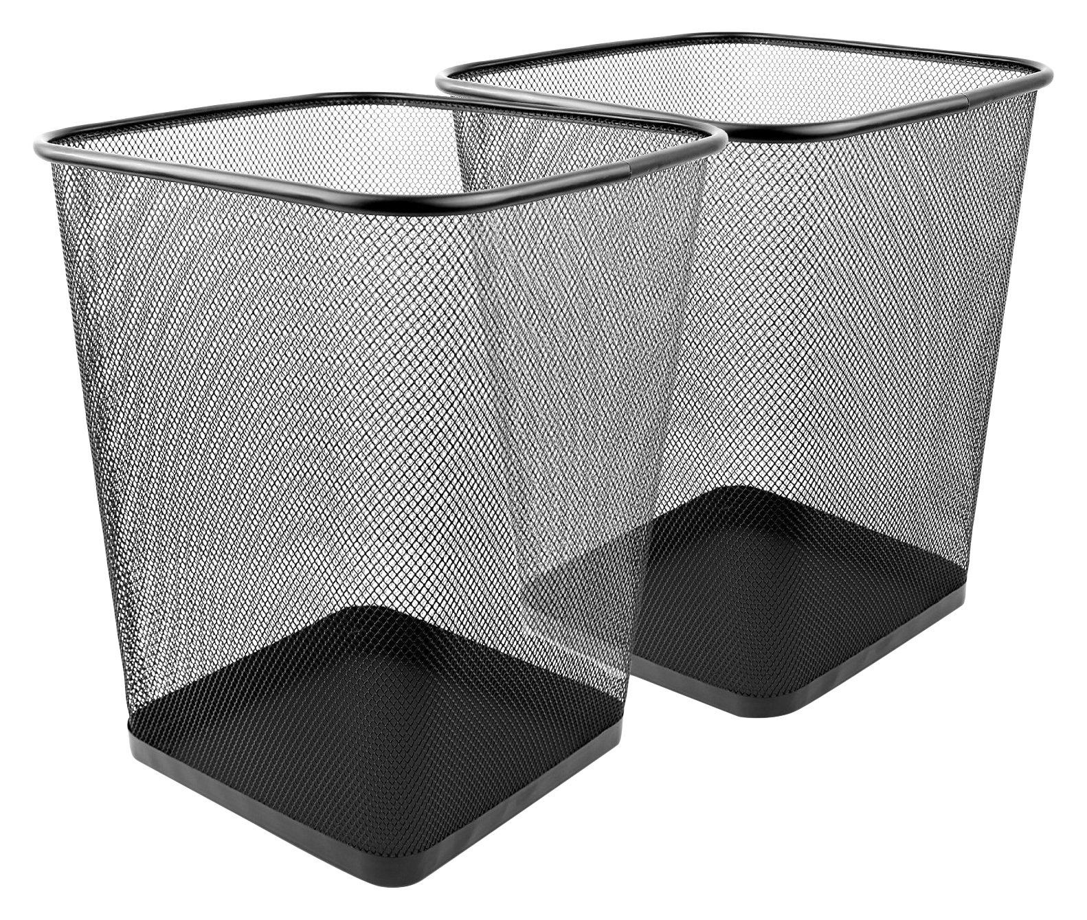 Greenco Mesh Wastebasket Trash Can, Square, 6 Gallon, Black, 2 Pack
