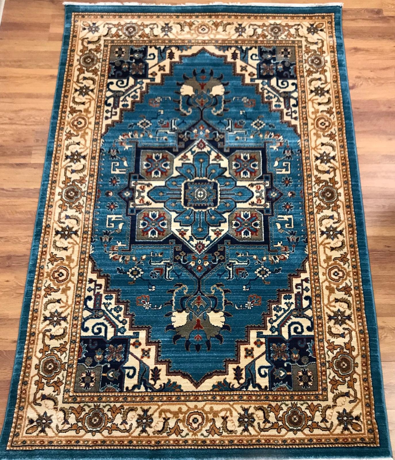 Antep Rugs ORIENTAL Collection TEBRIZ Oriental Polypropylene Area Rug (BLUE/IVORY, 8' X 10') by Antep Rugs