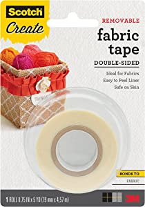 Scotch Create Removable Double-Sided Fabric Tape, 3/4 in x 5 yd (FTR-1-CFT)