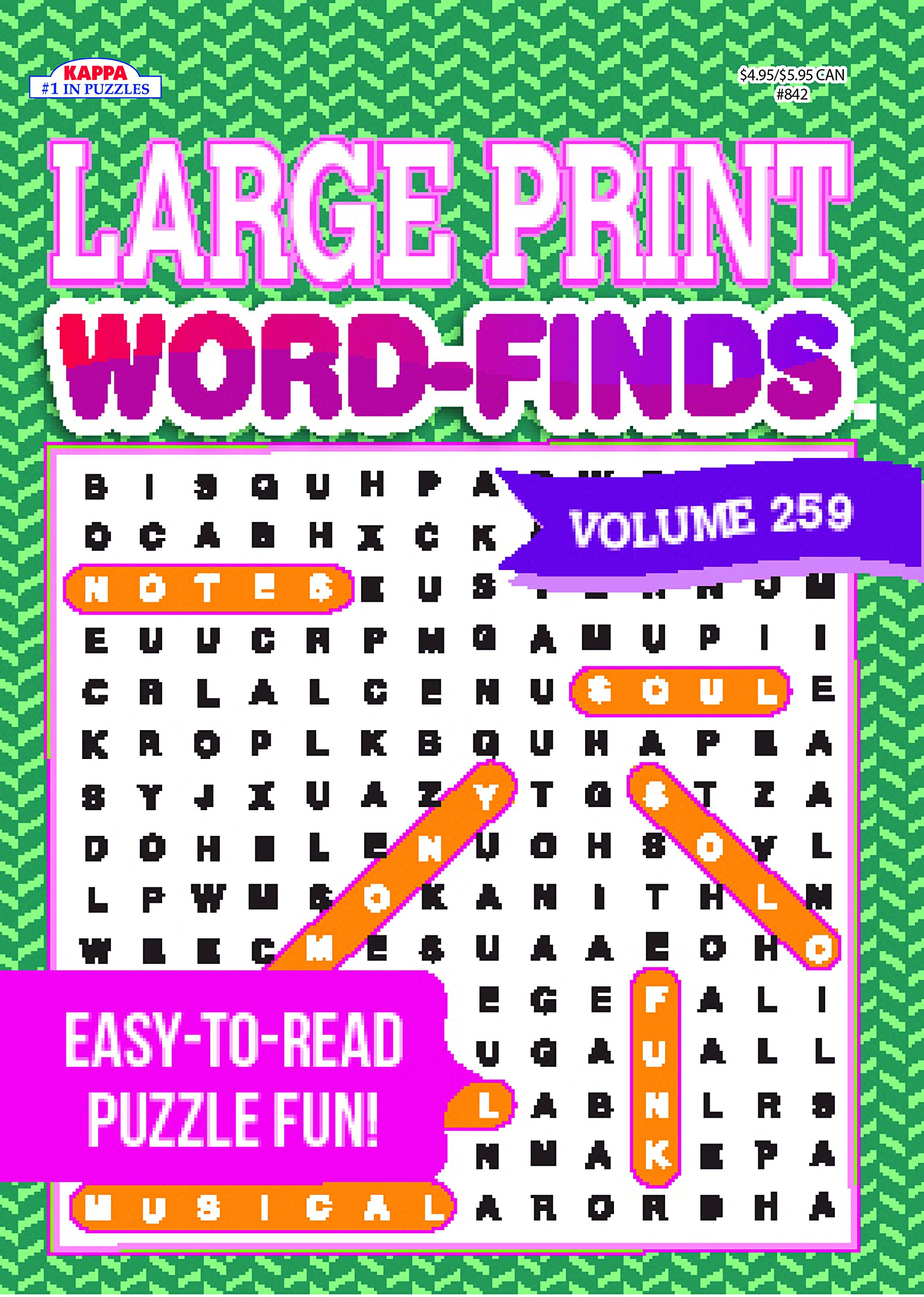 picture relating to Large Printable Word Search named Huge Print Term-Unearths Puzzle Ebook-Term Seem Sum 259