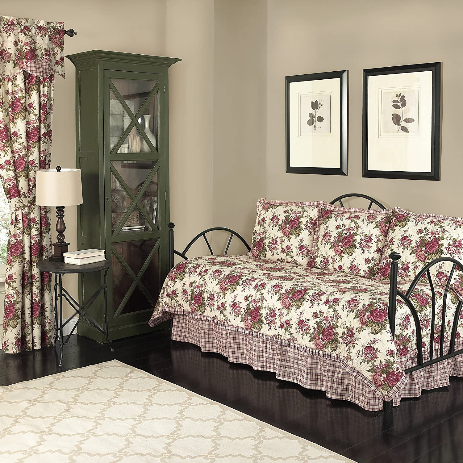 Waverly Norfolk 5-Piece Quilted Reversible Comforter Day Bed Cover Set, 105x54, Tea Stain