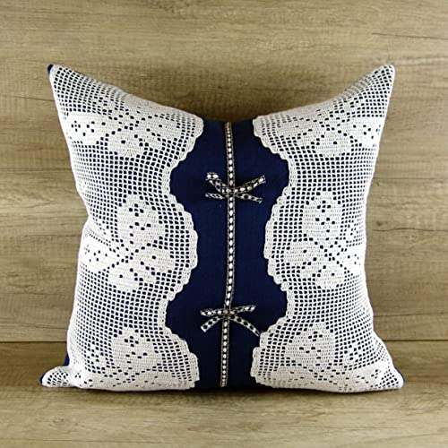 Amazoncom Navy Blue And White Pillows Embroidered Decorative Throw