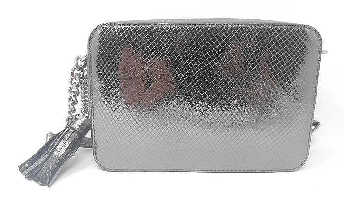 228fc22d8f50 Michael Kors Ginny Medium Camera Bag Embossed Leather Light Pewter   Handbags  Amazon.com