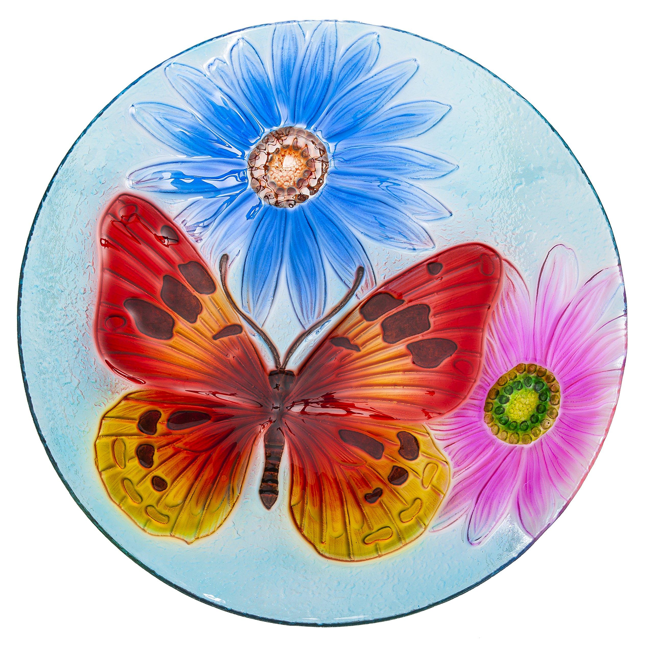 Evergreen Graceful Butterfly Glass Birdbath Bowl, 18 inches