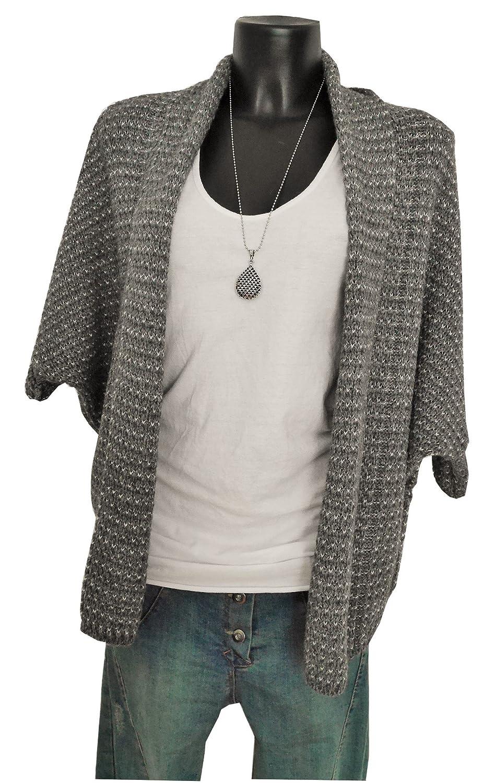 Fashion Trend Mode Ponchocardigan Knitwear Cardigan Kimono Weste Jacke Fledermaus grau grey M L XL 38 40 42 44 casual boho (969)