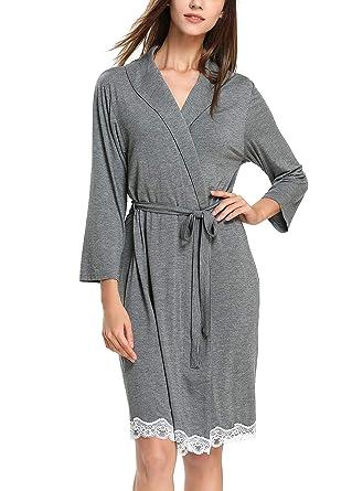 c21ea794c4 GUANYY Women Robe Soft Kimono Robes Cotton Bathrobe Sleepwear Loungewear  (Dark Gray
