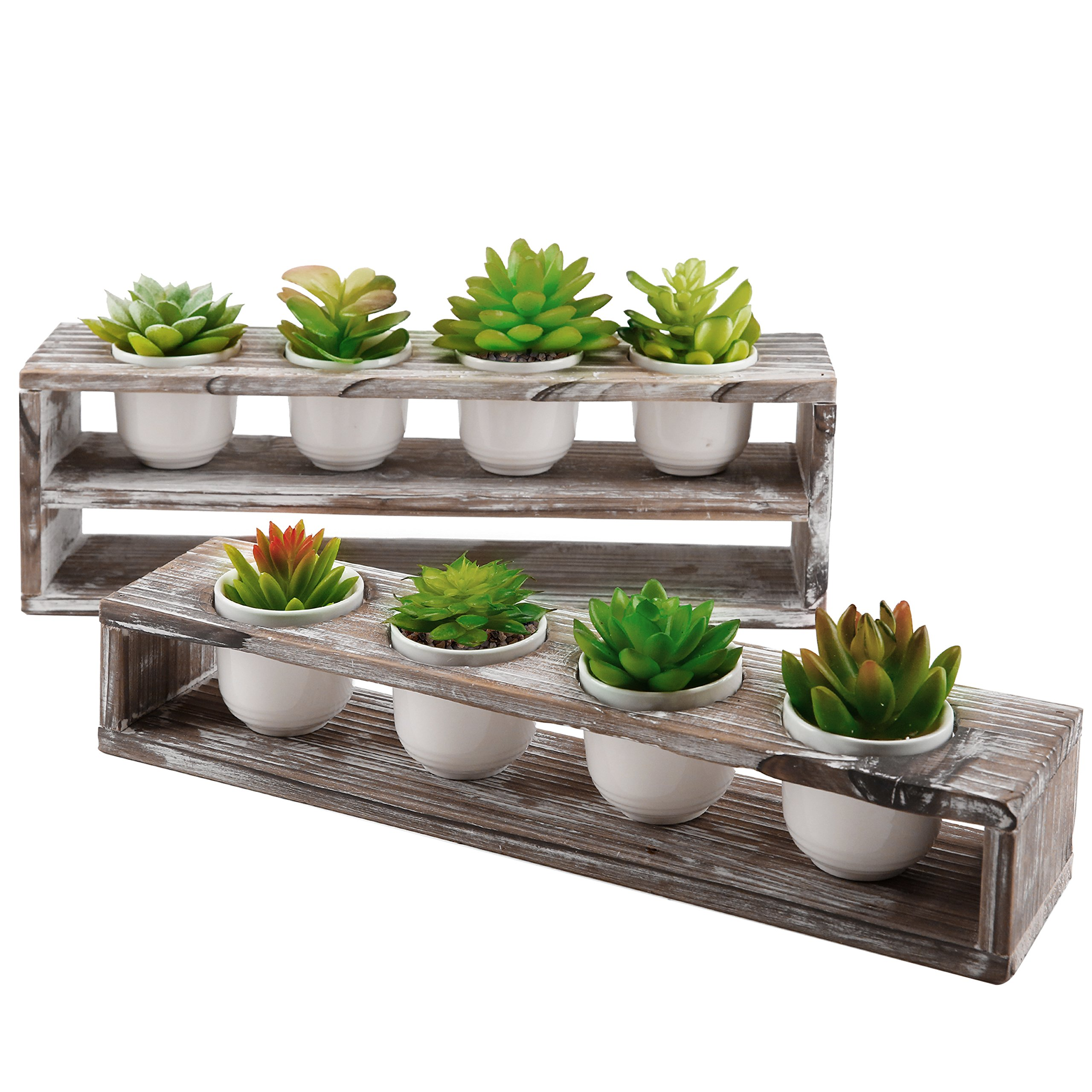 MyGift Torched Wood Tiered Succulent Planter Stand with 8 Mini White Ceramic Plant Pots, Set of 2 by MyGift