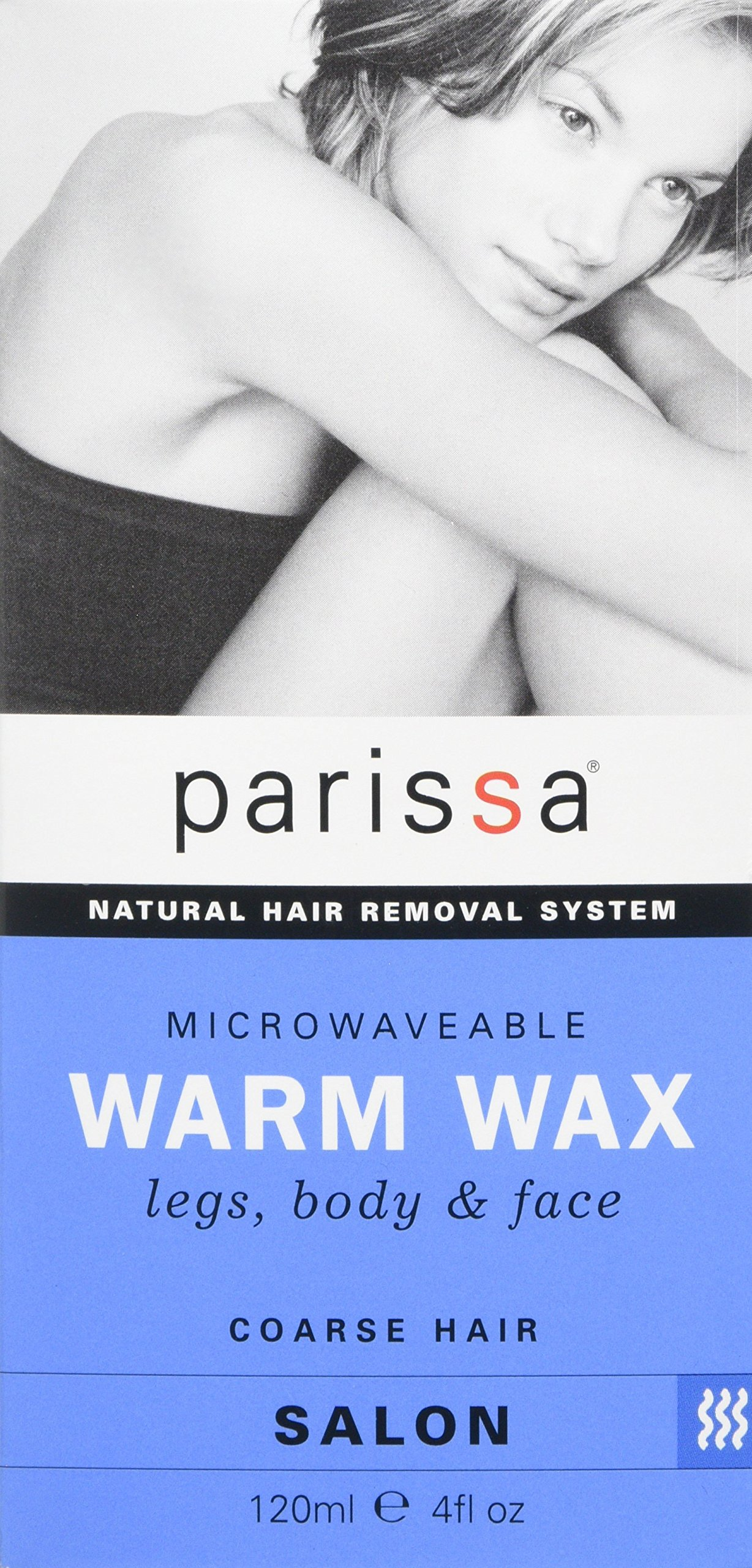 Parissa Warm Wax Hair Removal Waxing Kit, Professional Strength for Body Waxing, 4 fl oz (120ml) Wax, 3 Spatulas, 20 Strips & 8ml Azulene Oil