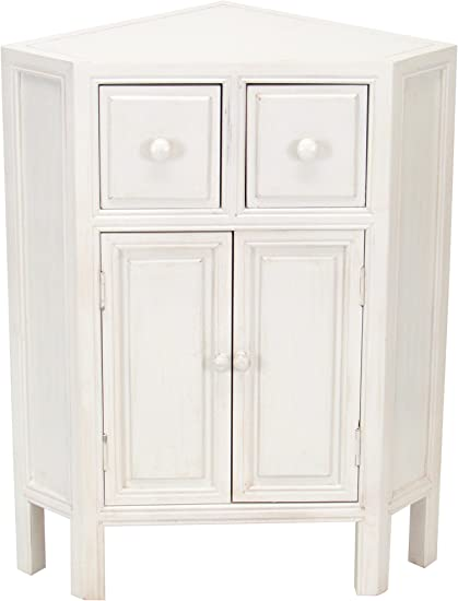 Amazon.com: Charleston Suchow Corner Cabinet, Whitewash ...