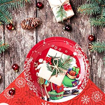 10 Traditionnelle Fête De Noël Décoration Vaisselle Jetable Gobelets en papier 9 oz environ 255.14 g