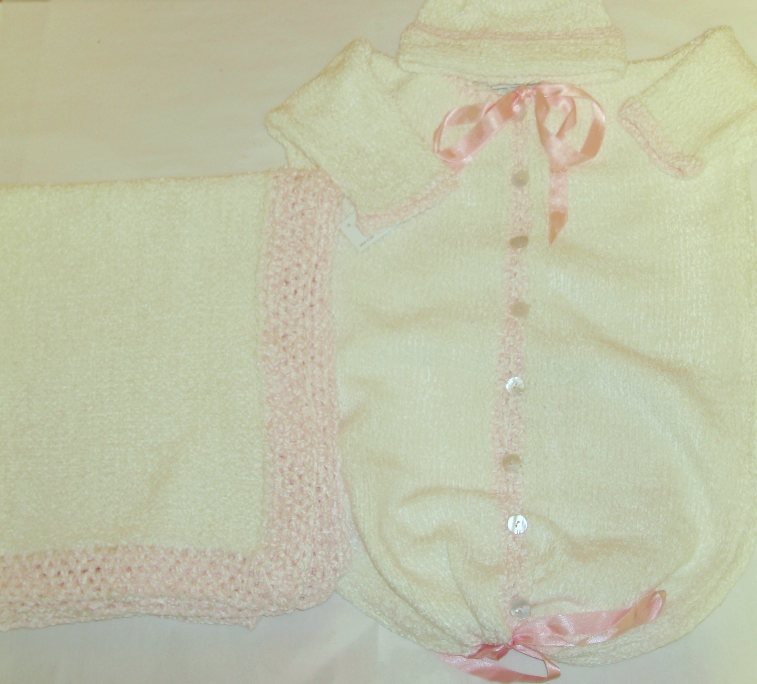 Hand Knitted Natural Chenille Finished By Hand Crochet with Pink Chenille Baby Bunting, Hat Set Matching Blanket