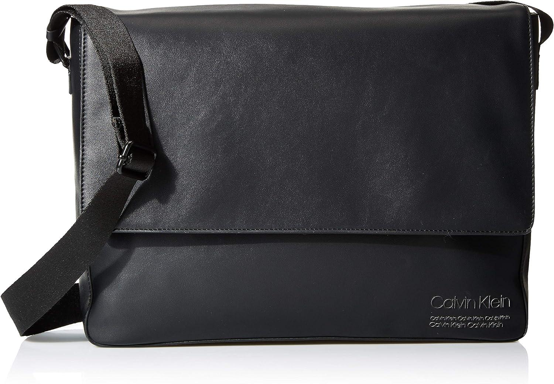 Calvin Klein Men's Debossed Logo Messenger, black, One Size
