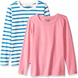 Marca Amazon / J. Crew - LOOK by crewcuts Camiseta de manga larga para niña, liso/estampado (2 unidades)